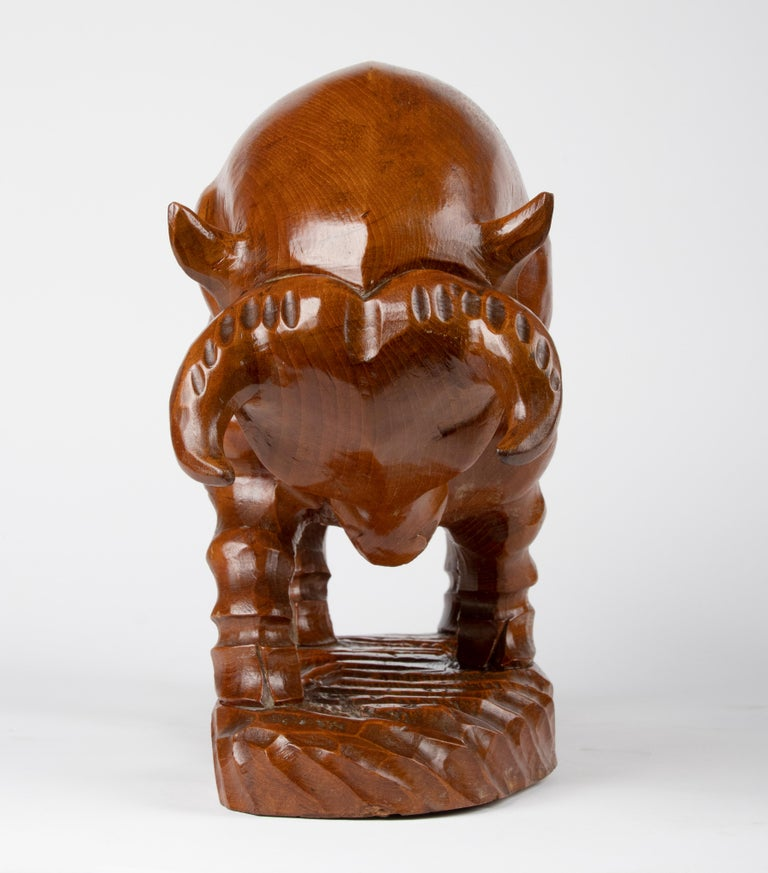 Mid 20th Century Spanish Modern Wooden Sculpture of a Bull For Sale 4