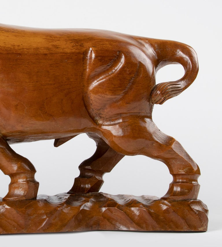 Mid 20th Century Spanish Modern Wooden Sculpture of a Bull For Sale 7