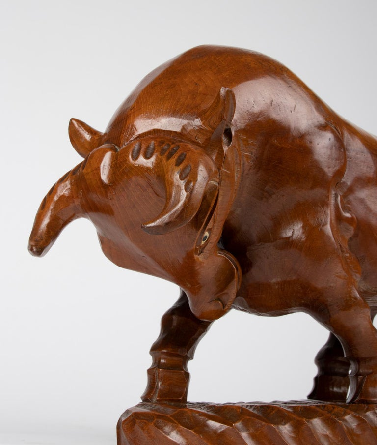 Mid 20th Century Spanish Modern Wooden Sculpture of a Bull For Sale 8