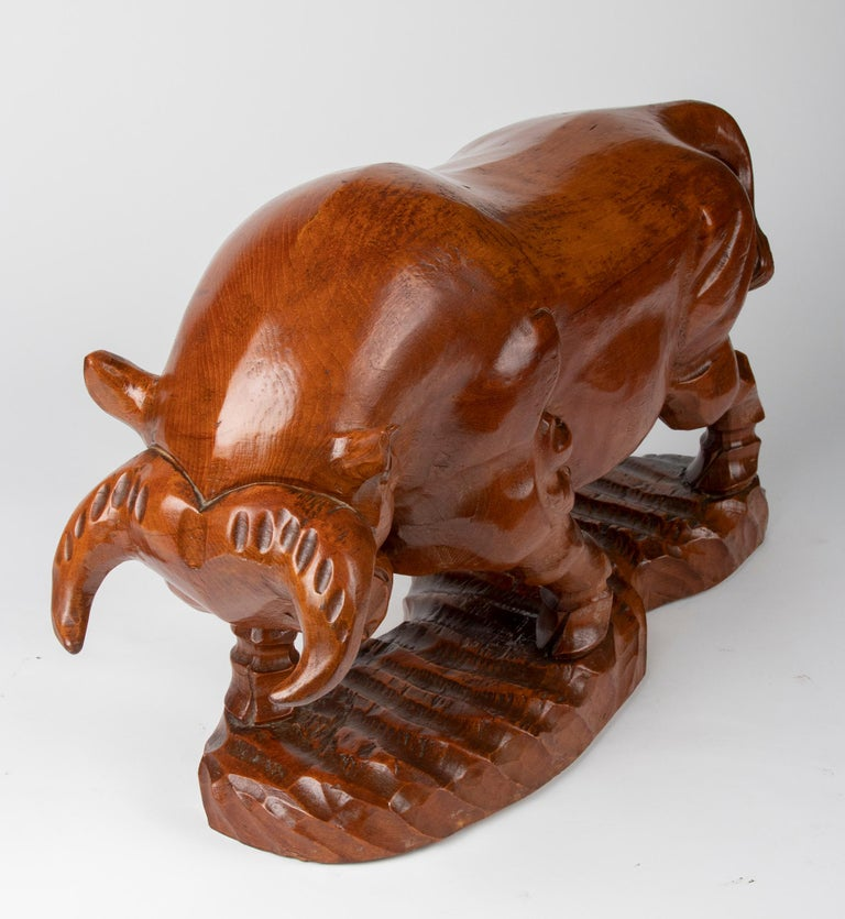 Mid 20th Century Spanish Modern Wooden Sculpture of a Bull For Sale 10