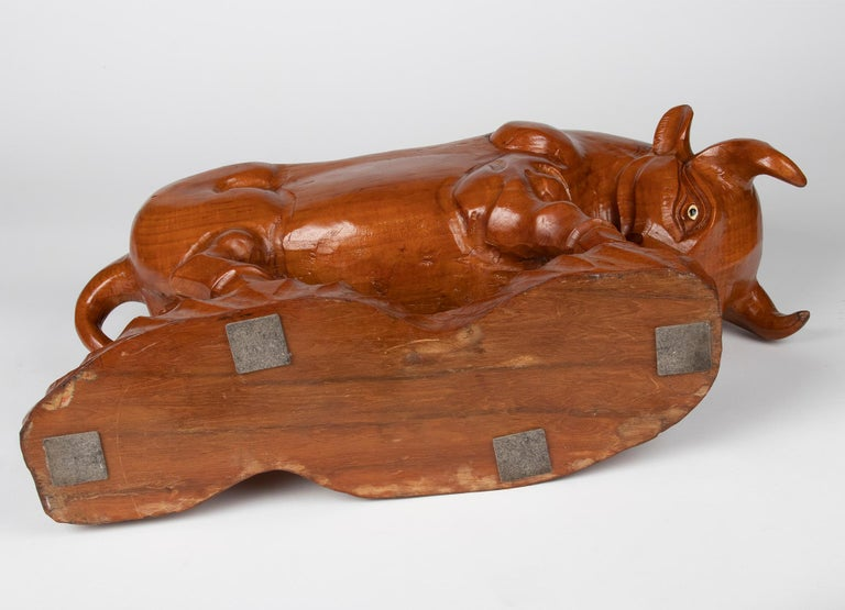 Mid 20th Century Spanish Modern Wooden Sculpture of a Bull For Sale 14
