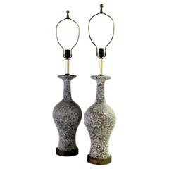 Mid-20th Century Speckle Glazed Ceramic Lamps