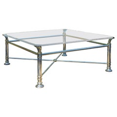 Mid-20th Century Square Silver Metal and Brass Coffee Table with Glass Top