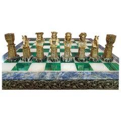 Mid-20th Century Sterline Silver Semiprecious Stones Chessboard