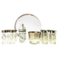 Mid-20th Century Sterling Silver and Glass Drinks Set of 11 by Dorothy Thorpe