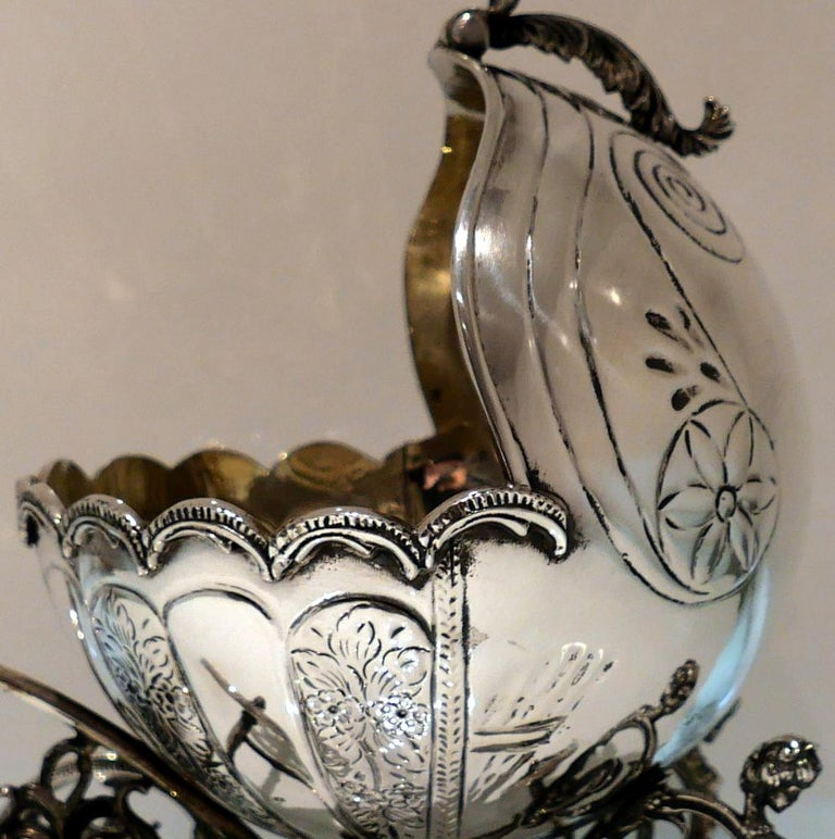 Mid-20th Century Sterling Silver Continental Large Serving Carriage, circa 1950 For Sale 1
