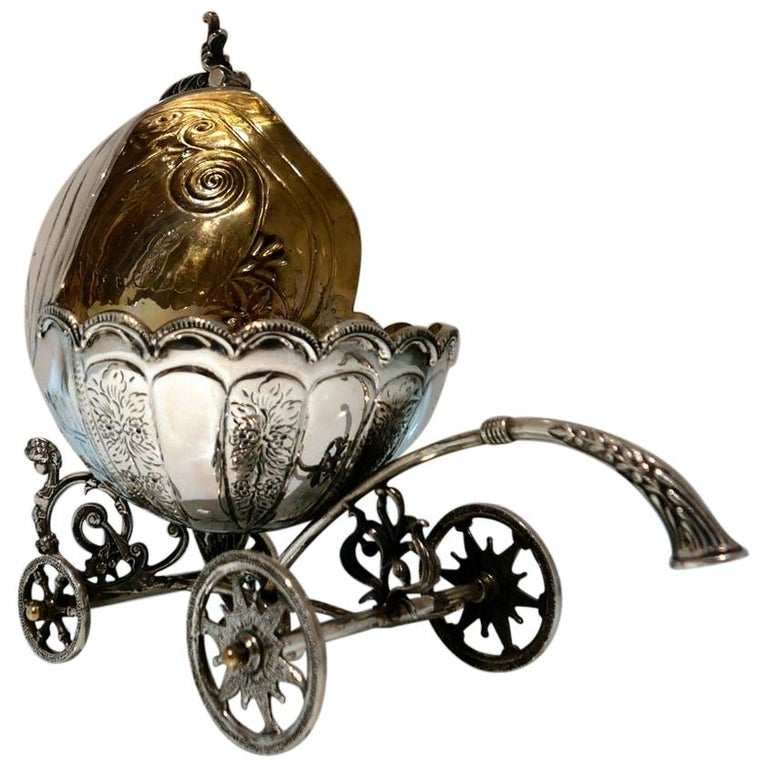 Mid-20th Century Sterling Silver Continental Large Serving Carriage, circa 1950 For Sale