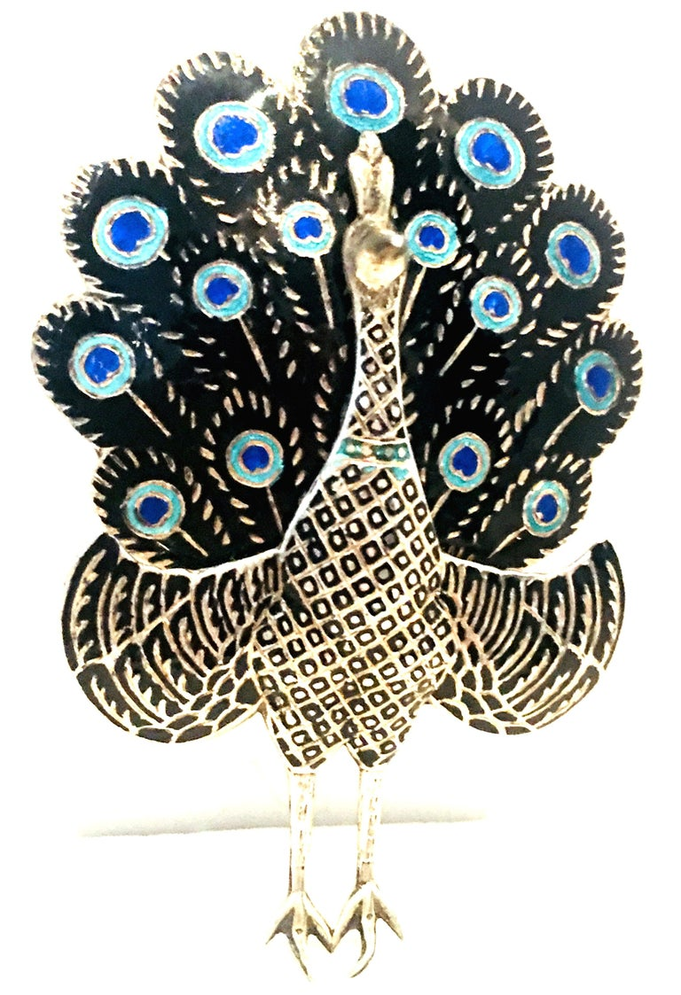 Mid-20th Century Sterling Silver & Enamel Articulating Peacock Brooch-Signed, Siam Sterling. Total weight, 18 grams.