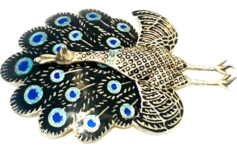 Women's or Men's Mid-20th Century Sterling Silver & Enamel Articulating Peacock Brooch-Signed For Sale