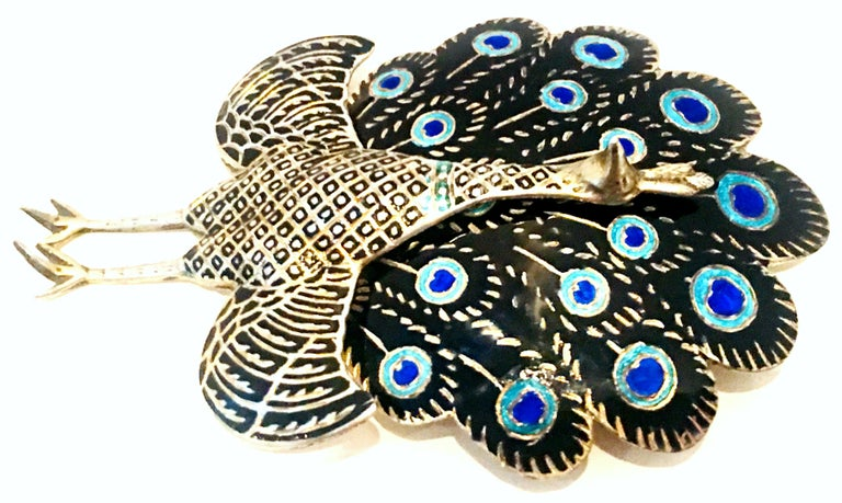 Mid-20th Century Sterling Silver & Enamel Articulating Peacock Brooch-Signed For Sale 1
