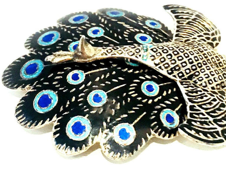 Mid-20th Century Sterling Silver & Enamel Articulating Peacock Brooch-Signed For Sale 3