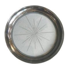 Mid-20th Century Sterling Silver and Glass Wine Bottle Coaster