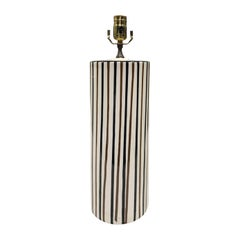 Mid-20th Century Striped Pottery Cylinder Lamp