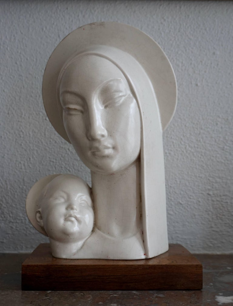 Mid-20th century stylized plaster buste of Madonna and child. Measures: Height 34 cm.