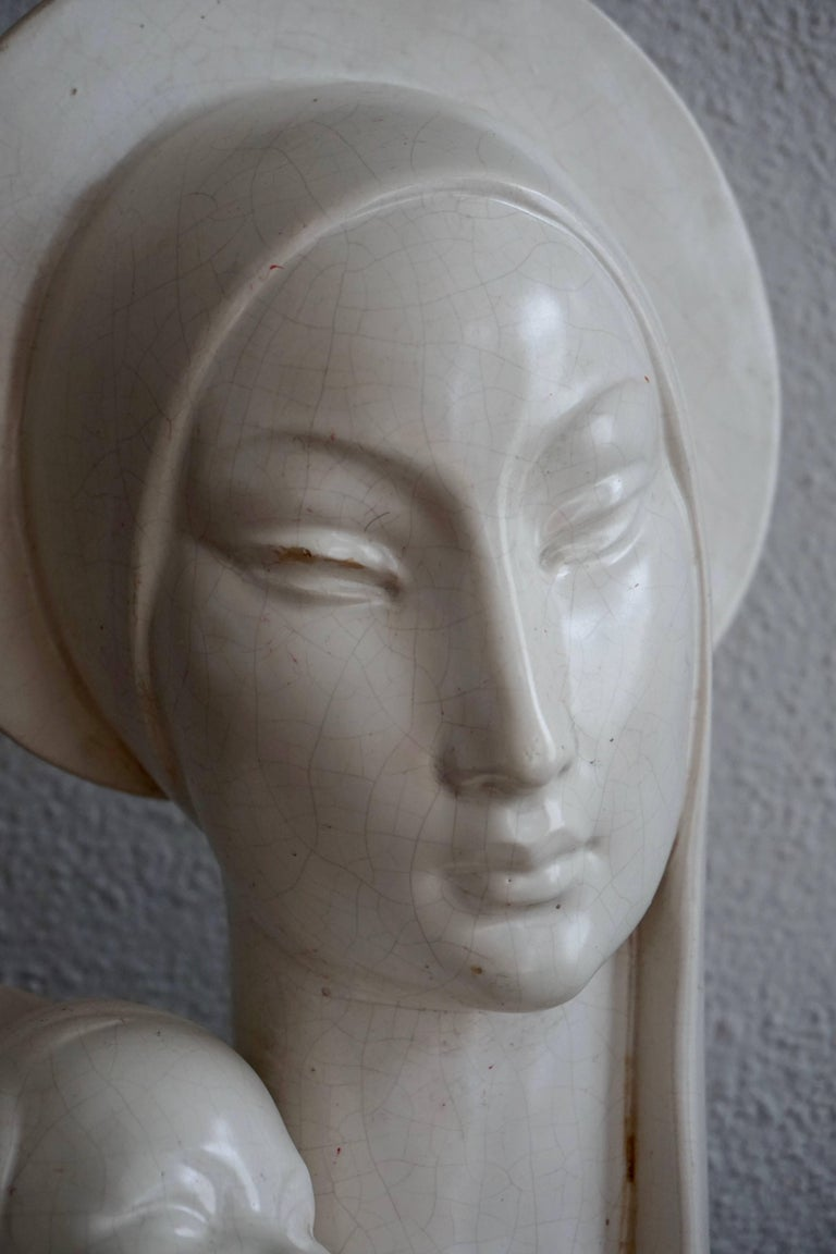 Mid-20th Century Stylized Plaster Sculpture of Madonna and Child For Sale 2