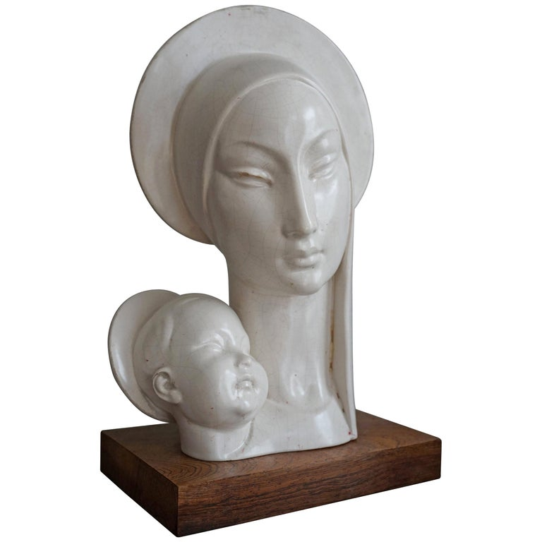 Mid-20th Century Stylized Plaster Sculpture of Madonna and Child For Sale