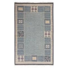 Mid-20th Century Swedish Beige, Blue, Gray, Purple, Yellow Flat Weave Wool Rug