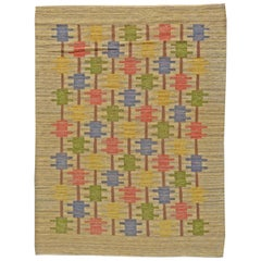 Mid-20th Century Swedish Beige, Blue, Green, Red and Gray Flat-Weave Wool Rug