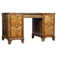 Mid 20th Century Swedish Birch Inlaid Pedestal Desk