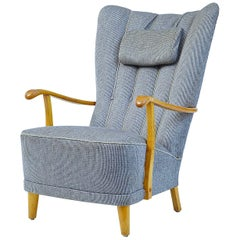 Mid-20th Century Swedish Birch Shell Back Armchair
