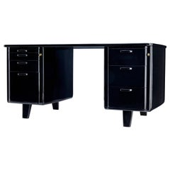 Mid-20th Century Swedish Black Lacquered Desk by Atvidabergs