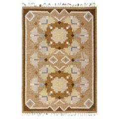Mid-20th Century Swedish Brown, Beige Rug byIngegerd Silow with Signature'IS'