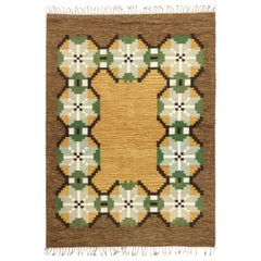 Mid-20th Century Swedish Brown, Gray, Green, Yellow Flat-Weave Rug Signed 'W'