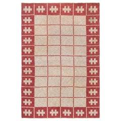 Mid-20th Century Swedish Carmine, Red, Ivory Flat-Weave Wool Rug