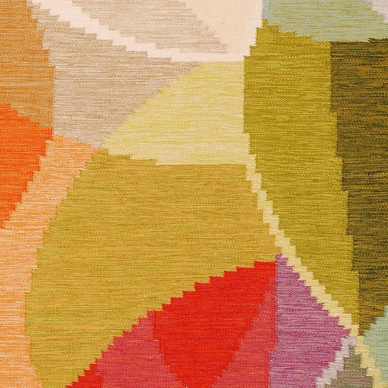Scandinavian Modern Mid-20th Century Swedish Flat-Weave Rug by Ingegerd Silow For Sale
