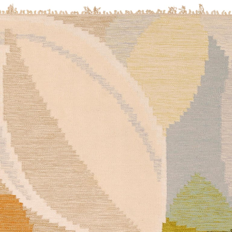 Hand-Woven Mid-20th Century Swedish Flat-Weave Rug by Ingegerd Silow For Sale