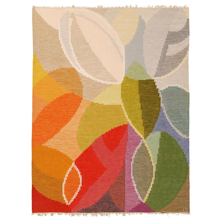 Mid-20th Century Swedish Flat-Weave Rug by Ingegerd Silow For Sale