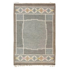 Mid-20th Century Swedish Neutral Colors Wool Rug by Ingegerd Silow Woven 'IS'