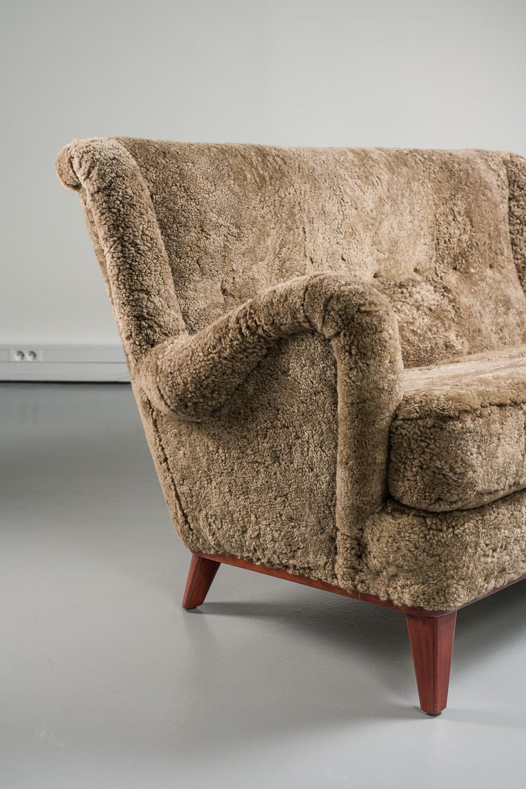 Mid-20th Century Swedish Sofa, Curly Lambskin Upholstery For Sale 8