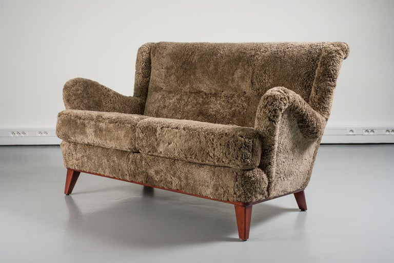 Scandinavian Modern Mid-20th Century Swedish Sofa, Curly Lambskin Upholstery For Sale
