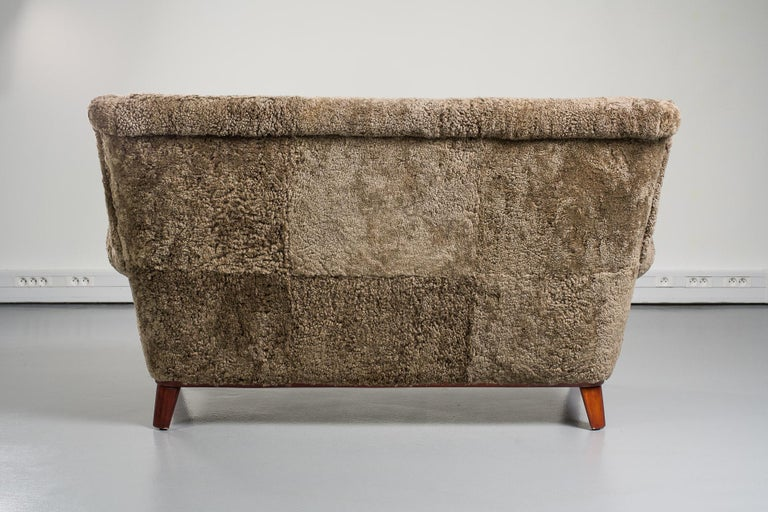 Mid-20th Century Swedish Sofa, Curly Lambskin Upholstery For Sale 1