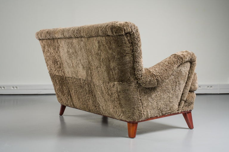 Mid-20th Century Swedish Sofa, Curly Lambskin Upholstery For Sale 2