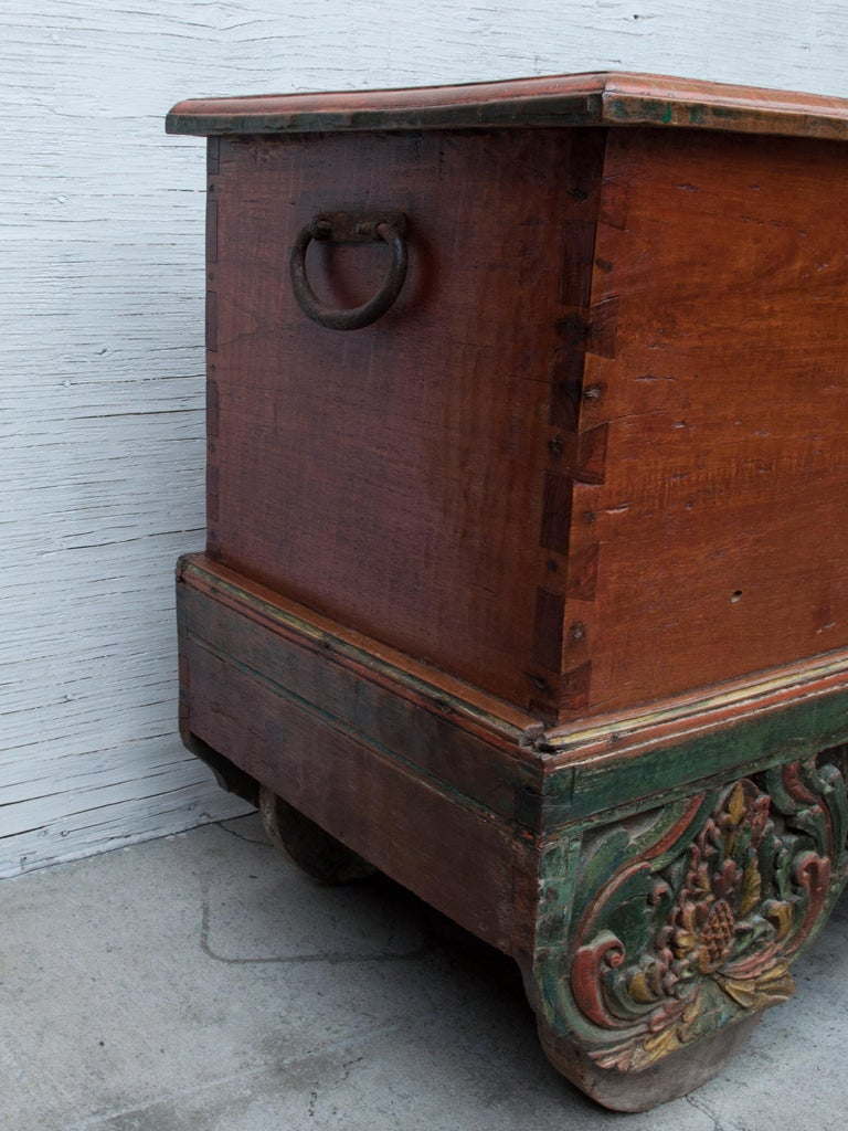 Mid-20th Century Teak Chest on Wheels from Java. Original Color and Hardware. For Sale 5