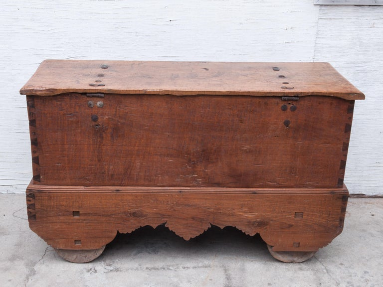 Mid-20th Century Teak Chest on Wheels from Java. Original Color and Hardware. For Sale 13