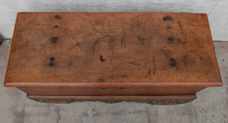 Mid-20th Century Teak Chest on Wheels from Java. Original Color and Hardware. For Sale 2