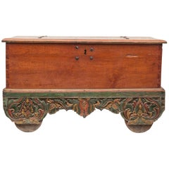 Mid-20th Century Teak Chest on Wheels from Java. Original Color and Hardware.