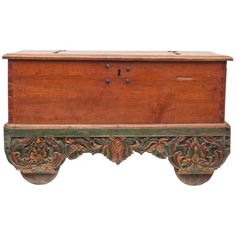 Mid-20th Century Teak Chest on Wheels from Java. Original Color and Hardware. For Sale