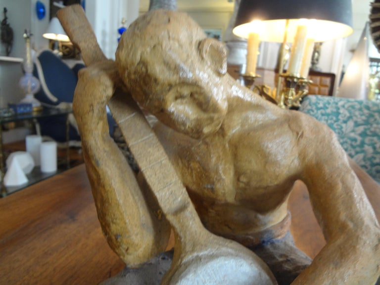 Hollywood Regency Mid-20th Century Terracotta Figural Sculpture For Sale