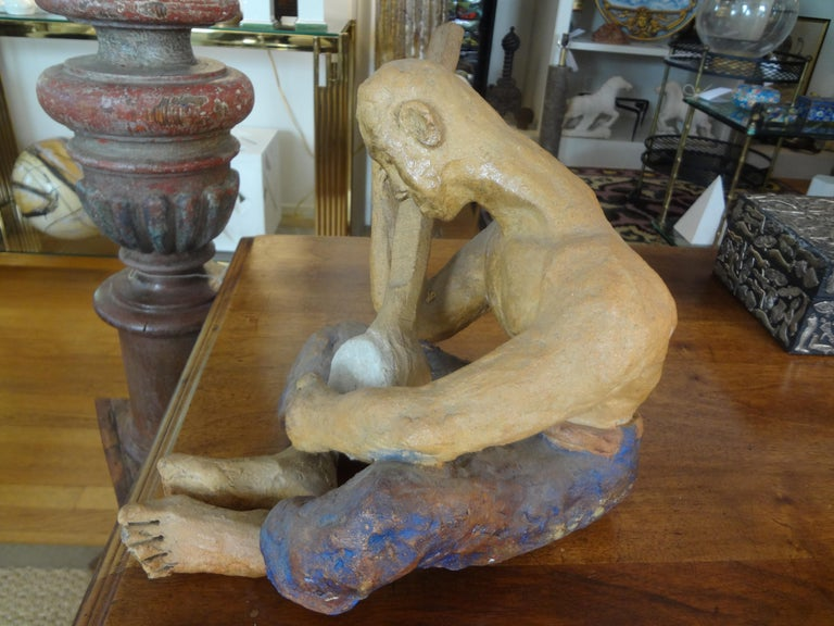 Clay Mid-20th Century Terracotta Figural Sculpture For Sale