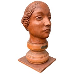 Mid-20th Century Terracotta Sculpture of a Lady