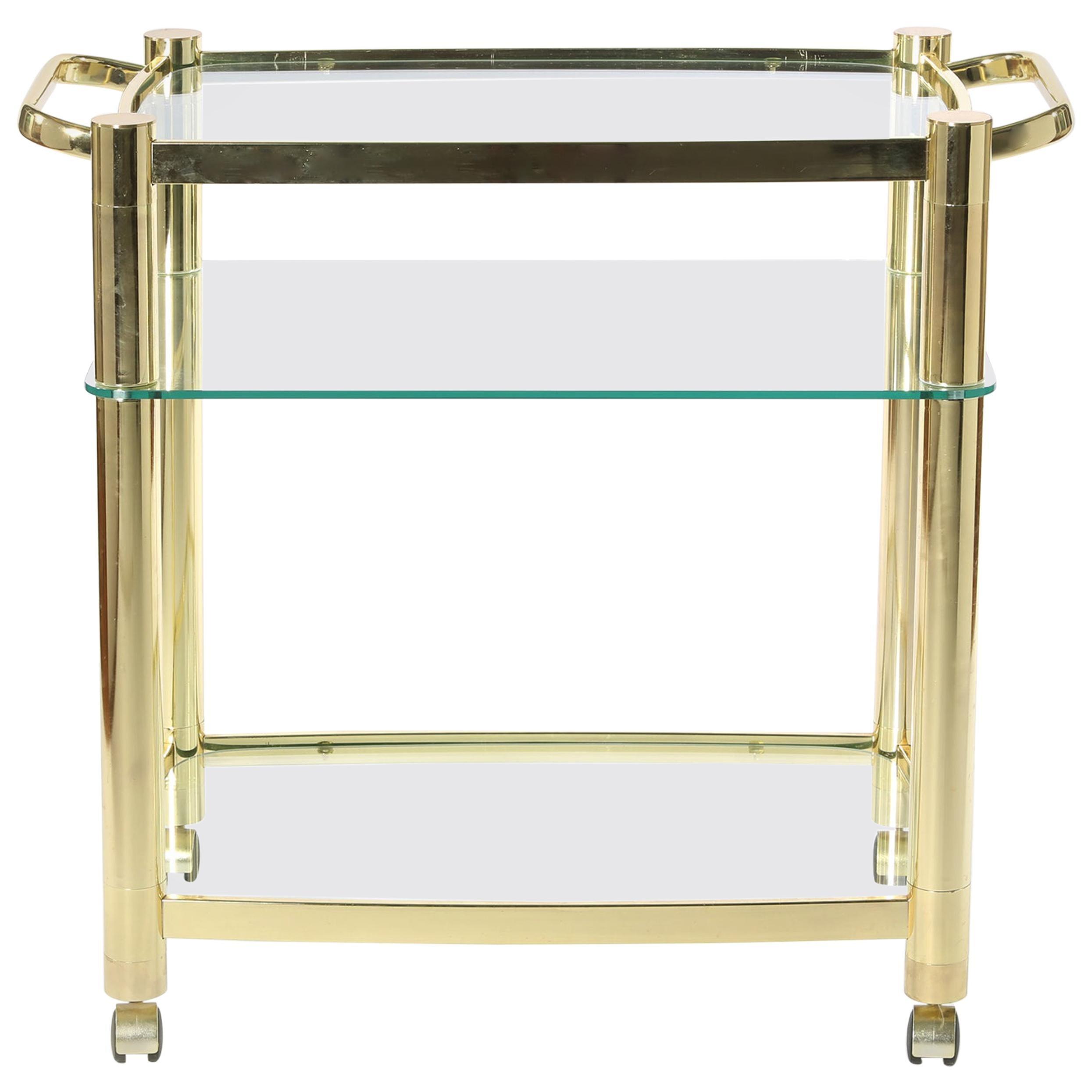 Mid-20th Century Three Glass Shelves Bar Cart