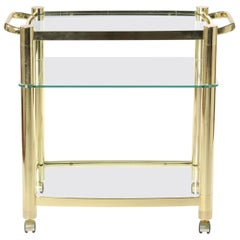 Mid-20th Century Three Glass Shelves Bar Cart