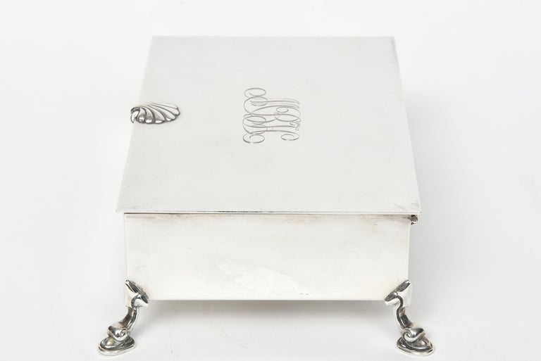 Mid-20th Century Tiffany & Co. Sterling Shell and Dolphin Box For Sale 2