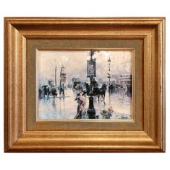 Mid-20th Century Tole Painted Paris Street Scene in Gilt Frame Signed Palmer