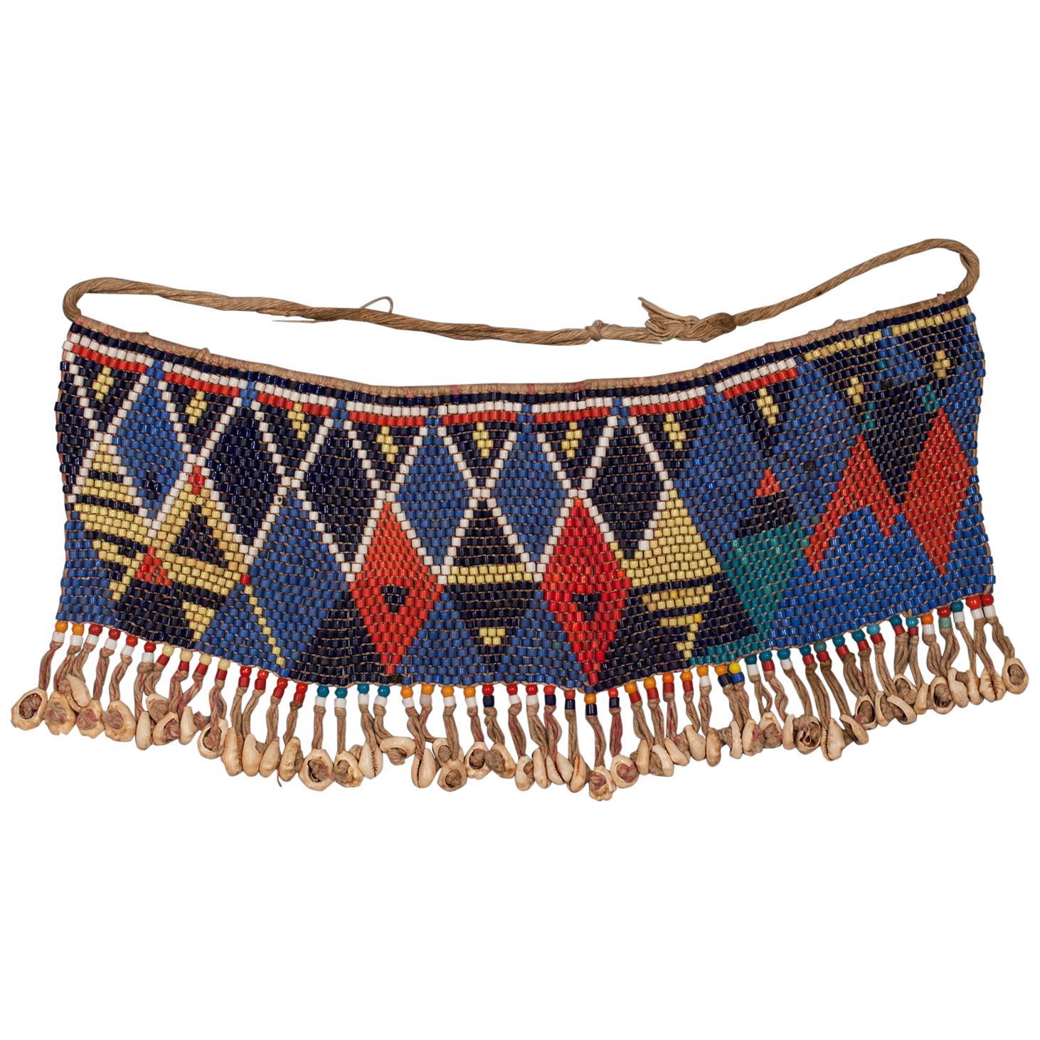 Mid-20th Century Tribal Beaded Cache-Sexe Modesty Apron, Cameroon