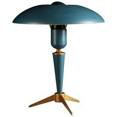 Mid-20th Century Tripod Green Enamel Desk Lamp by Louis Kalff